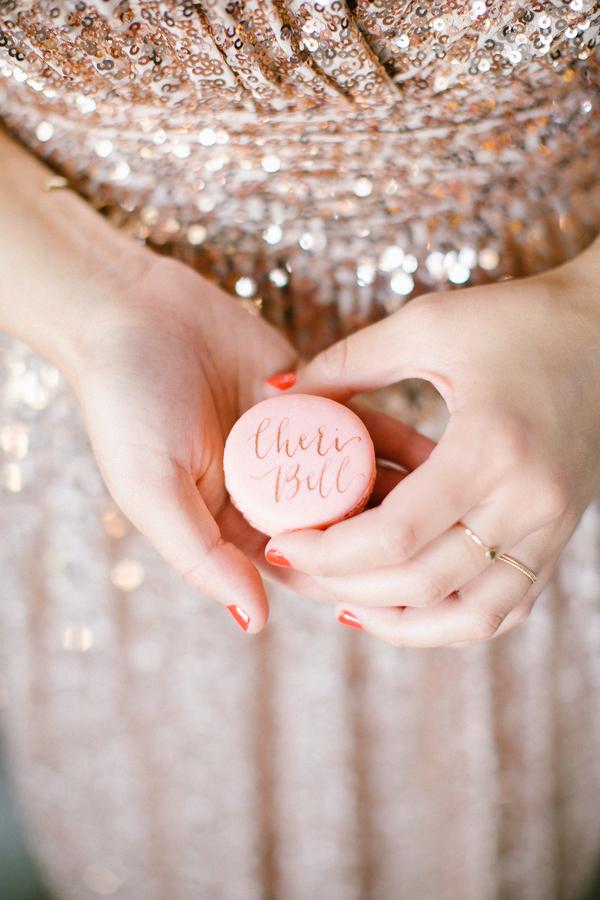 pink calligraphed macaron