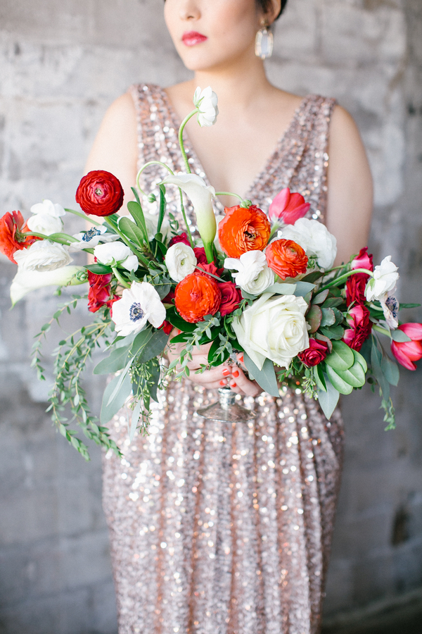 red and white modern bouquet