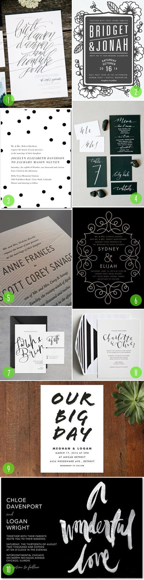 top 10: black and white invitations 2
