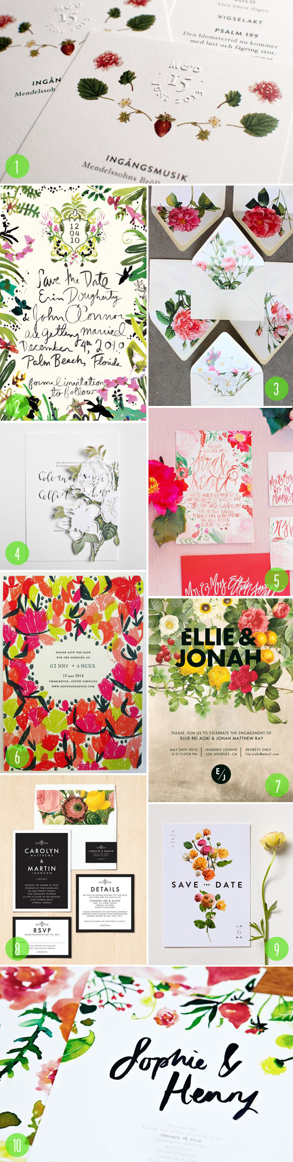 top 10: floral wedding invitations