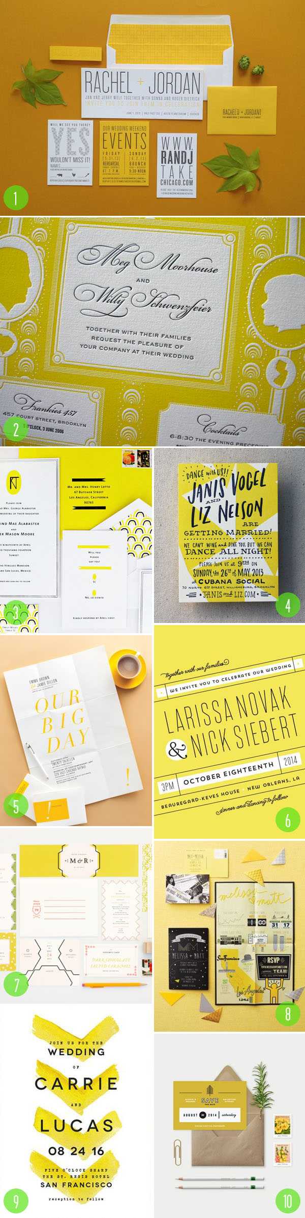 top 10: yellow wedding invitations