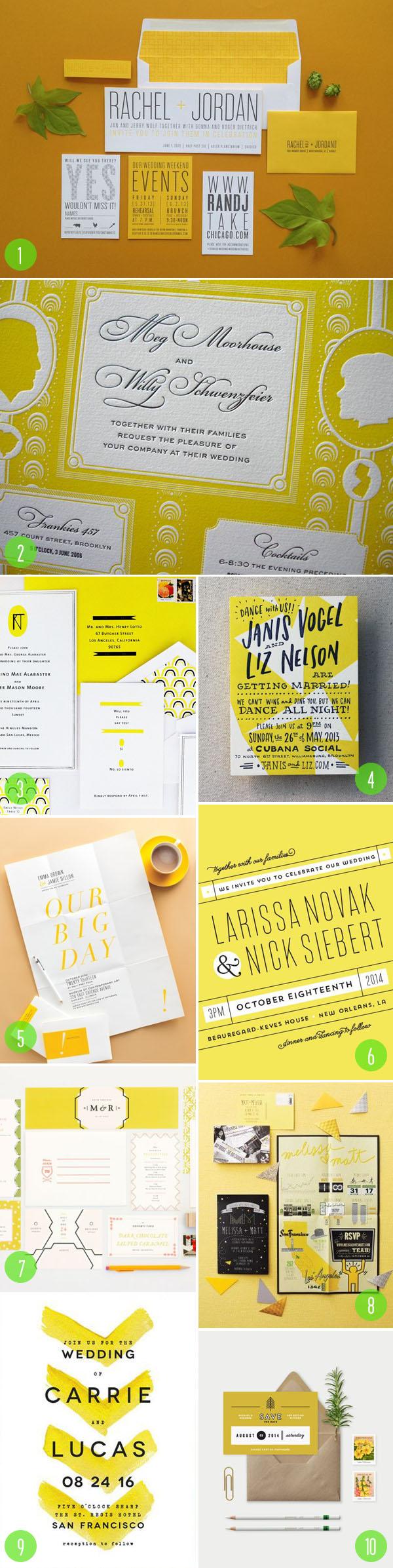 top 10: yellow wedding invitations