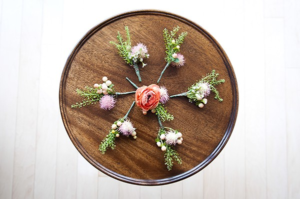 pink and green boutonnieres