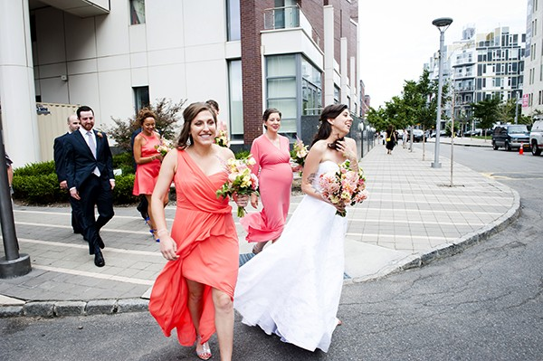 coral pink bridesmaids dresses