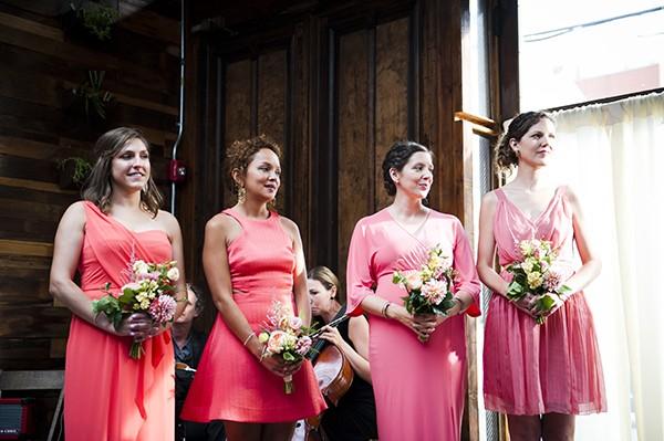 coral pink bridesmaids dresses