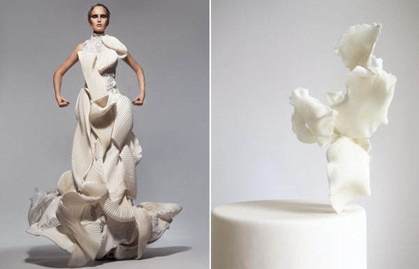 sculptural dress & cake