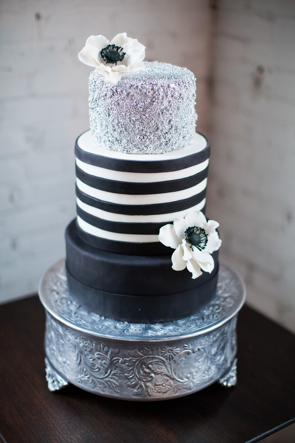 black white and silver wedding cake