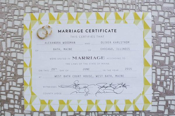 modern yellow wedding certificate
