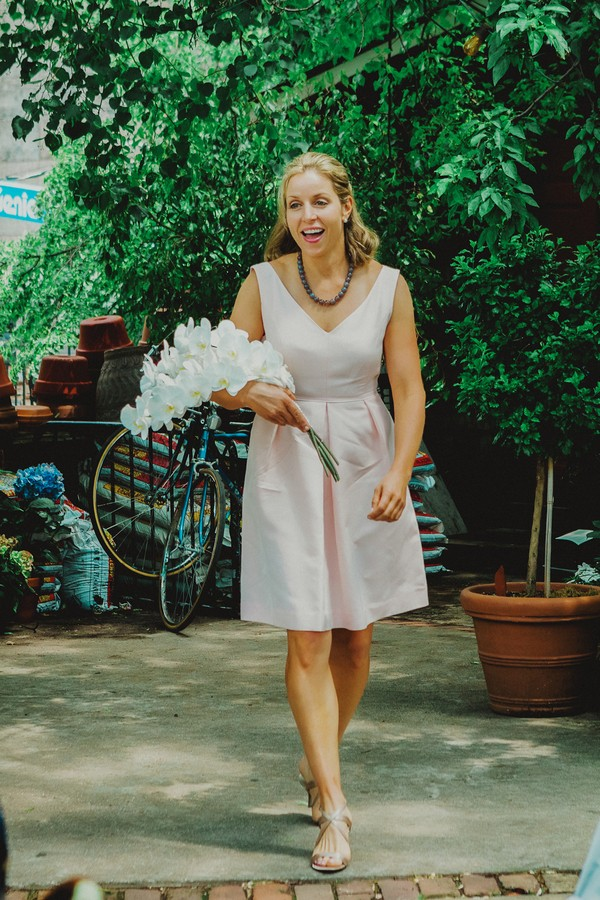 bridesmaid with cascading bouquet