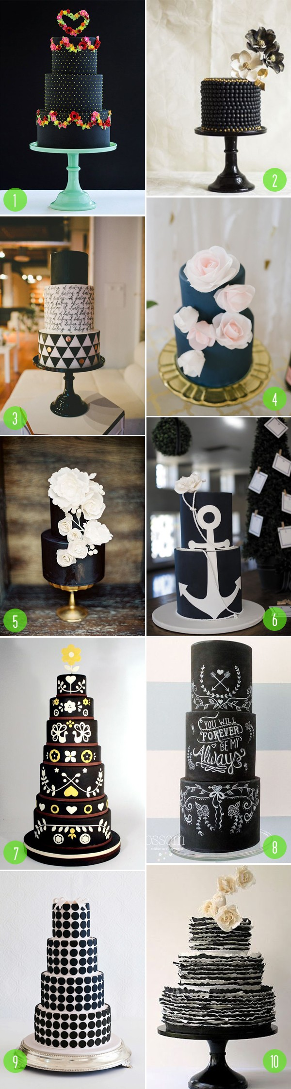 top 10: black wedding cakes
