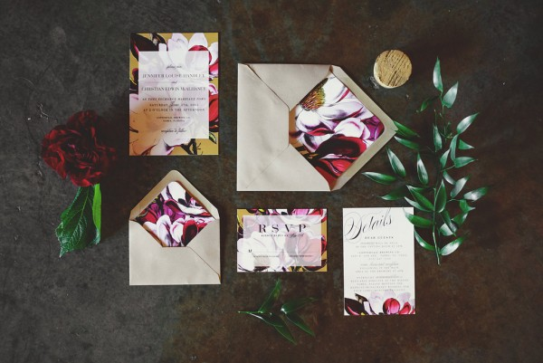 french floral invitation suite