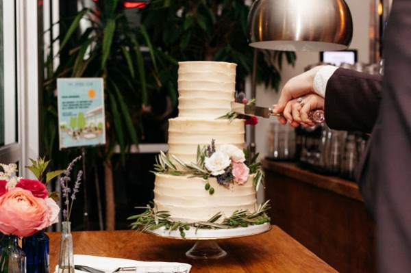 simple floral wedding cake