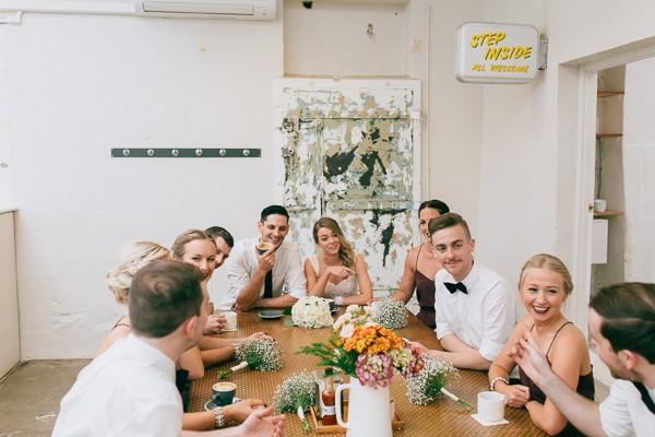 bridal party at coffee shop
