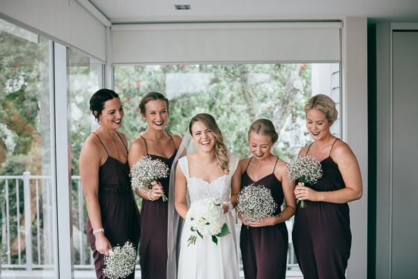 bridesmaids in brown