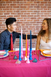 painted candlestick centerpiece