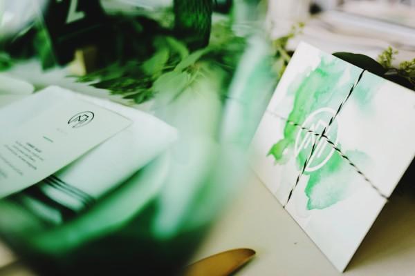 green watercolor invitation