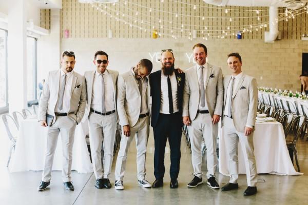 groomsmen in grey