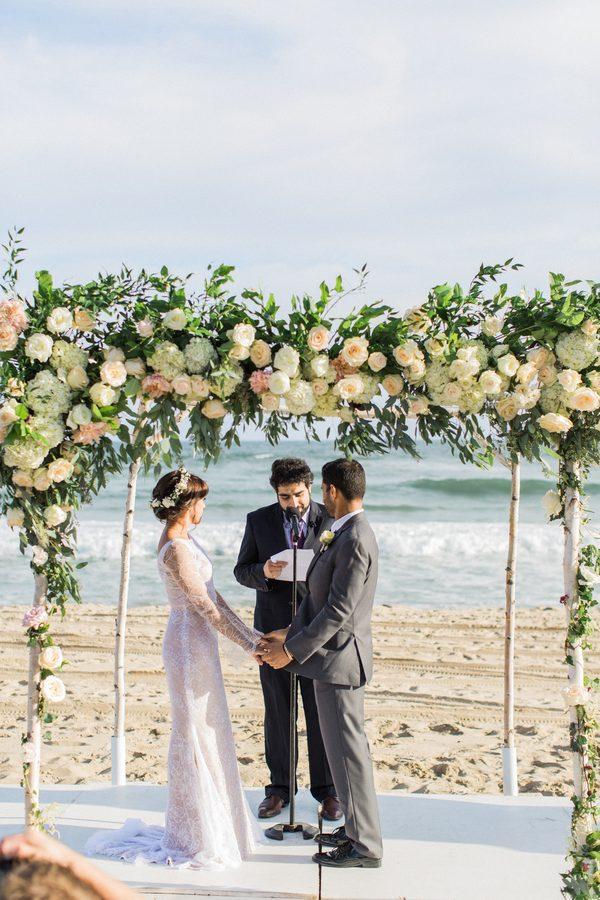floral altar on the beach