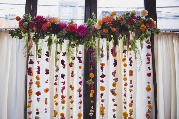 hanging floral altar