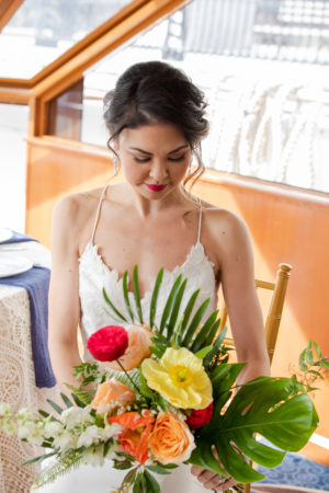Bold Montsera Poppy Rose Wedding Bouquet