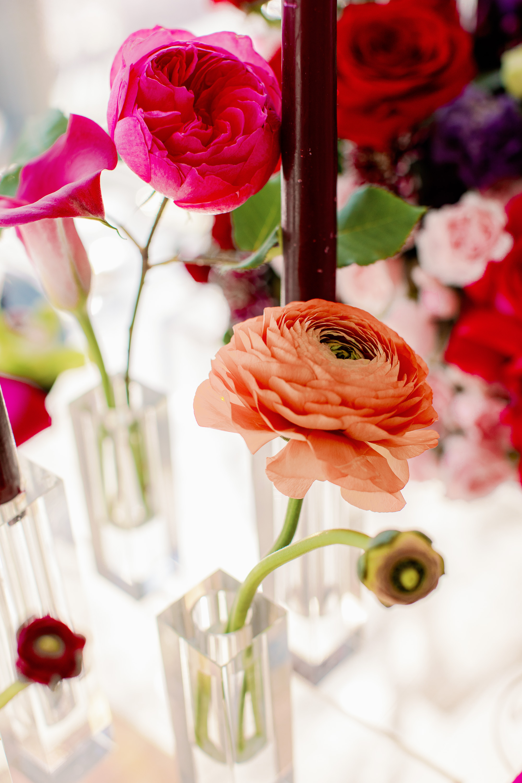 Colorful Ranunculus and Rose Wedding Centerpiece
