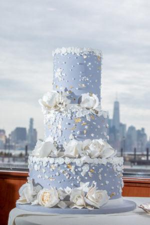 Elegant Nautical Blue and White Wedding Cake
