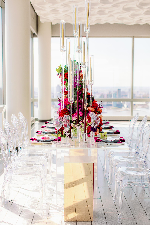 Gold Burgundy Red Purple Orange Wedding Tablescape