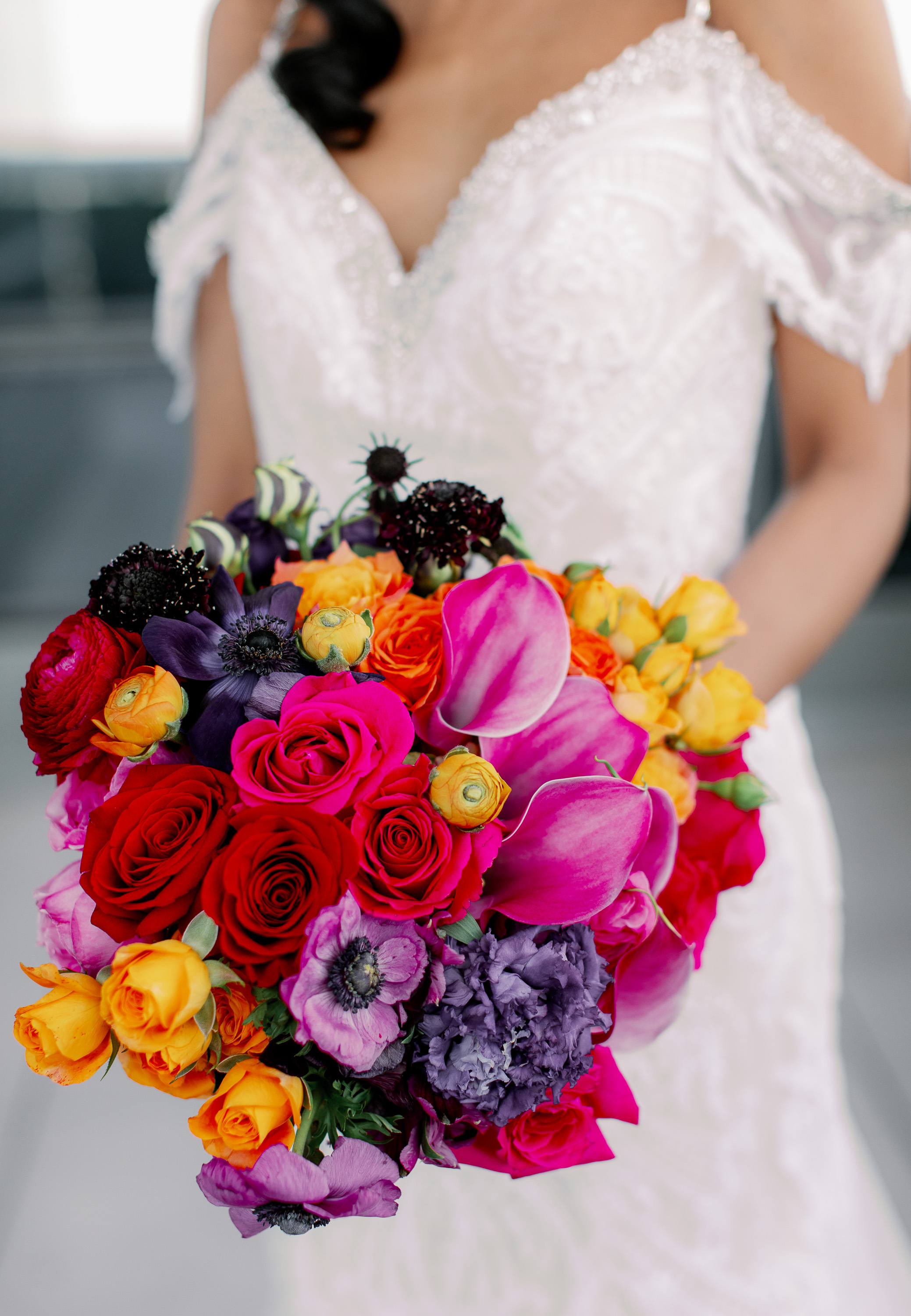 Jewel Toned Rose Calla Anemone Lilly Scabiosa Bouquet