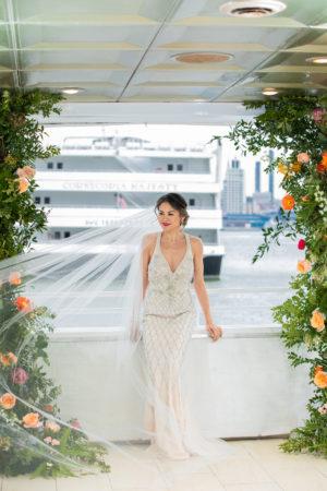 Modern Glamorous Beaded Wedding Gown
