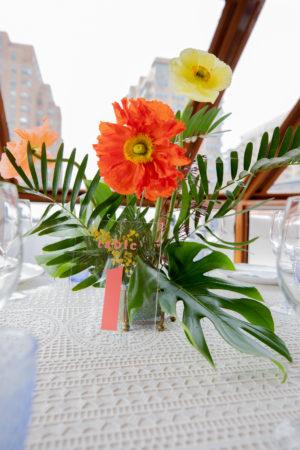 Poppy Montsera Leaf Wedding Centerpiece