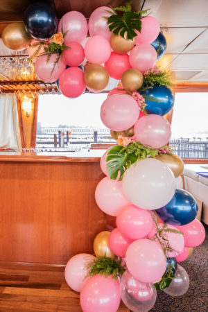 Tropical Pink and Blue Monstera Leaf Balloon Arch