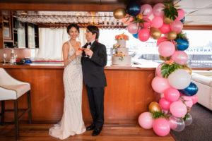 Yacht Wedding Champagne Toast