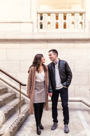New York Library Engagement Shoot