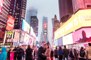 Rainy Times Square Engagement Photos