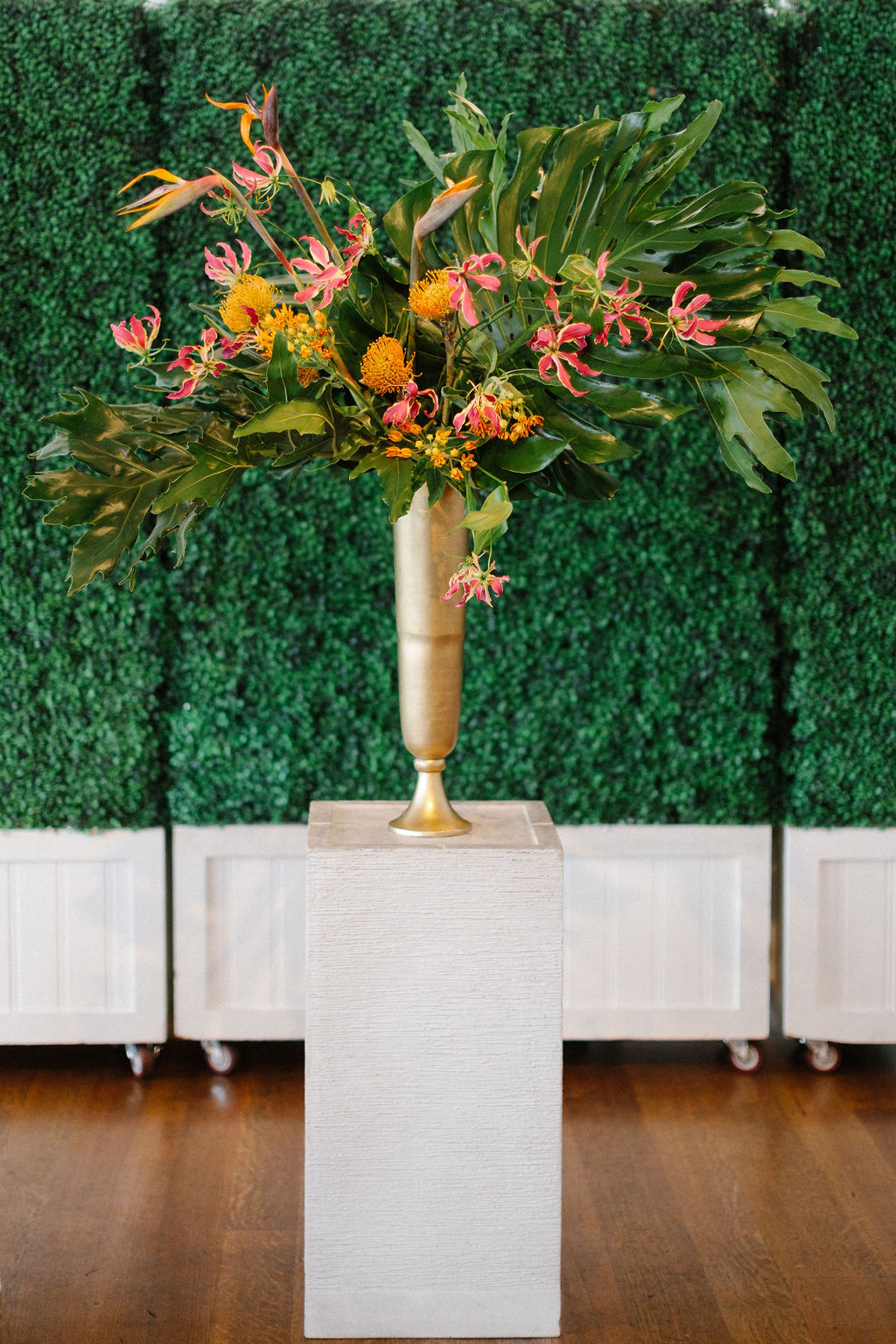 Bold Tropical Wedding Ceremony Decor