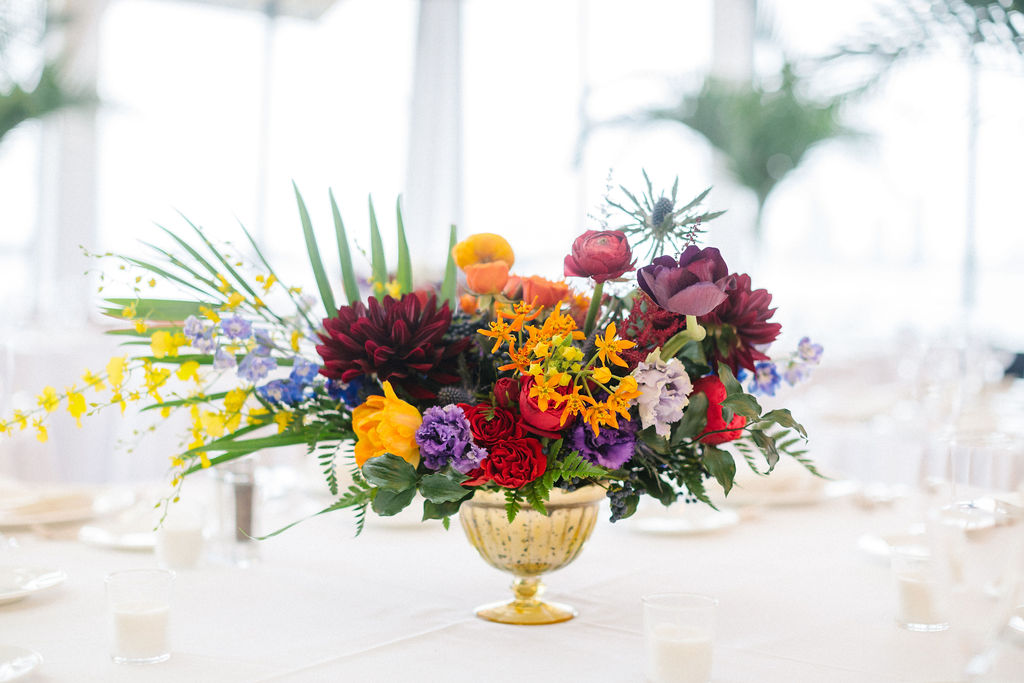 Colorful and Tropical Wedding Centerpiece