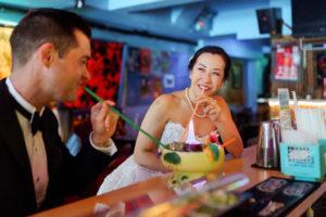Tiki Bar Wedding Photo