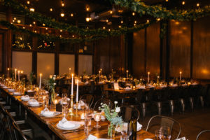 Reception with Greenery Swags on Ceiling