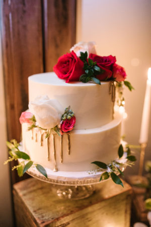 Red White Gold Wedding Cake