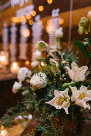 White Tulip and Ranunculus Wedding Centerpiece