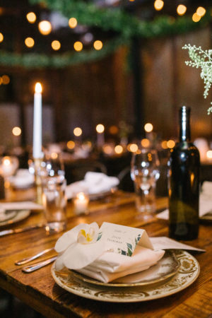 White Winery Wedding Place Setting