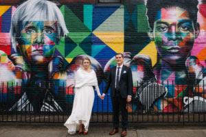 Brooklyn Mural Wedding Photo