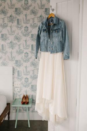 Wedding Dress with Denim Jacket