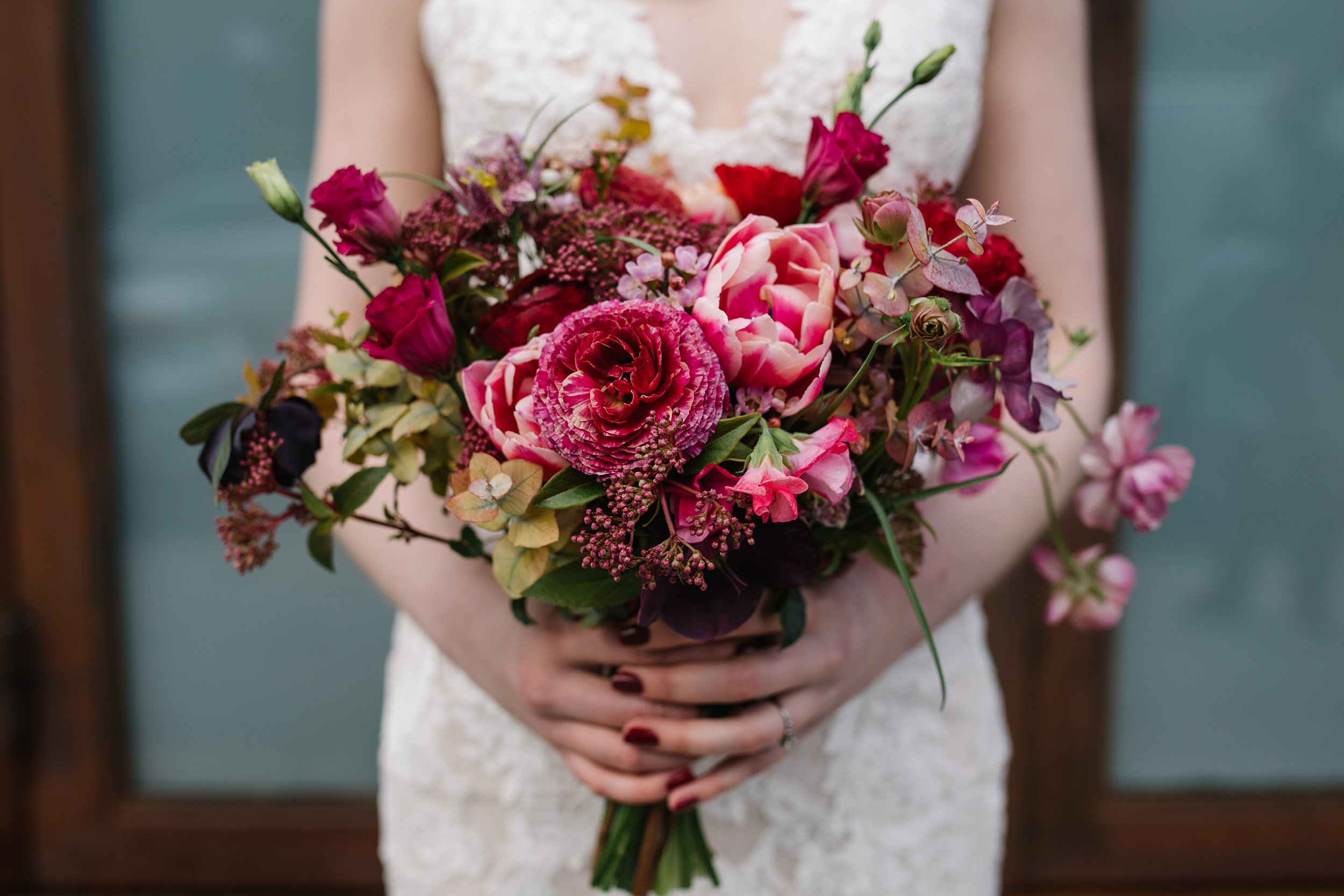 Bright Pink and Red Spring Wedding Bouquet