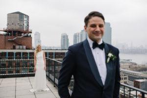 Brooklyn Rooftop Wedding First Look