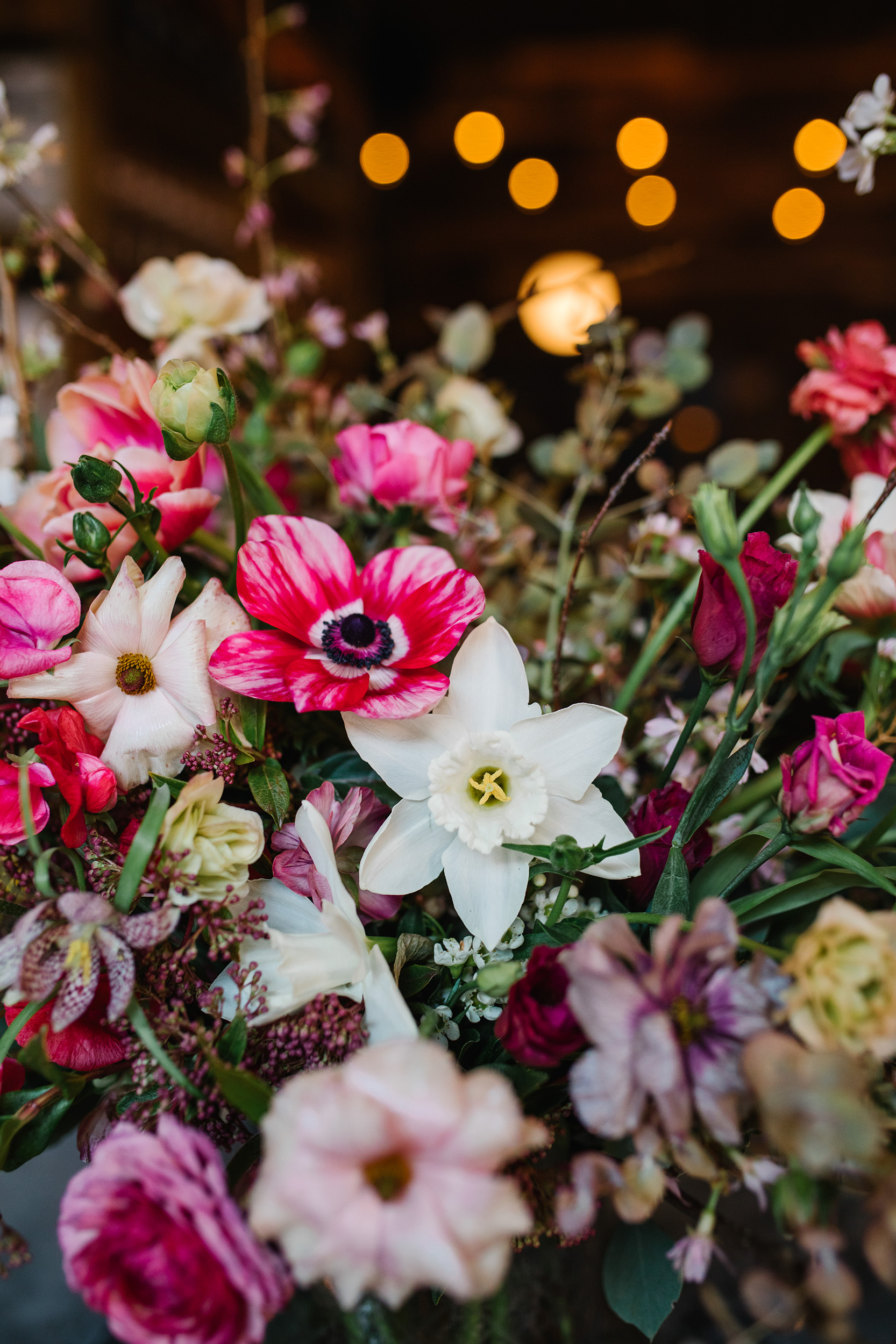 Deep Pink and White Spring Wedding Flowers
