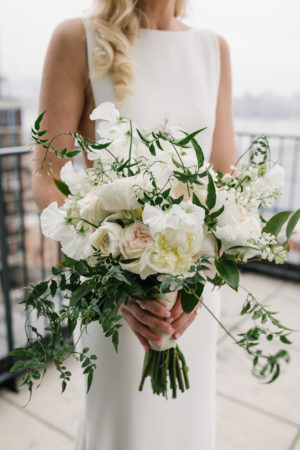 White Peony Rose Jasmine Vine Wedding Bouquet