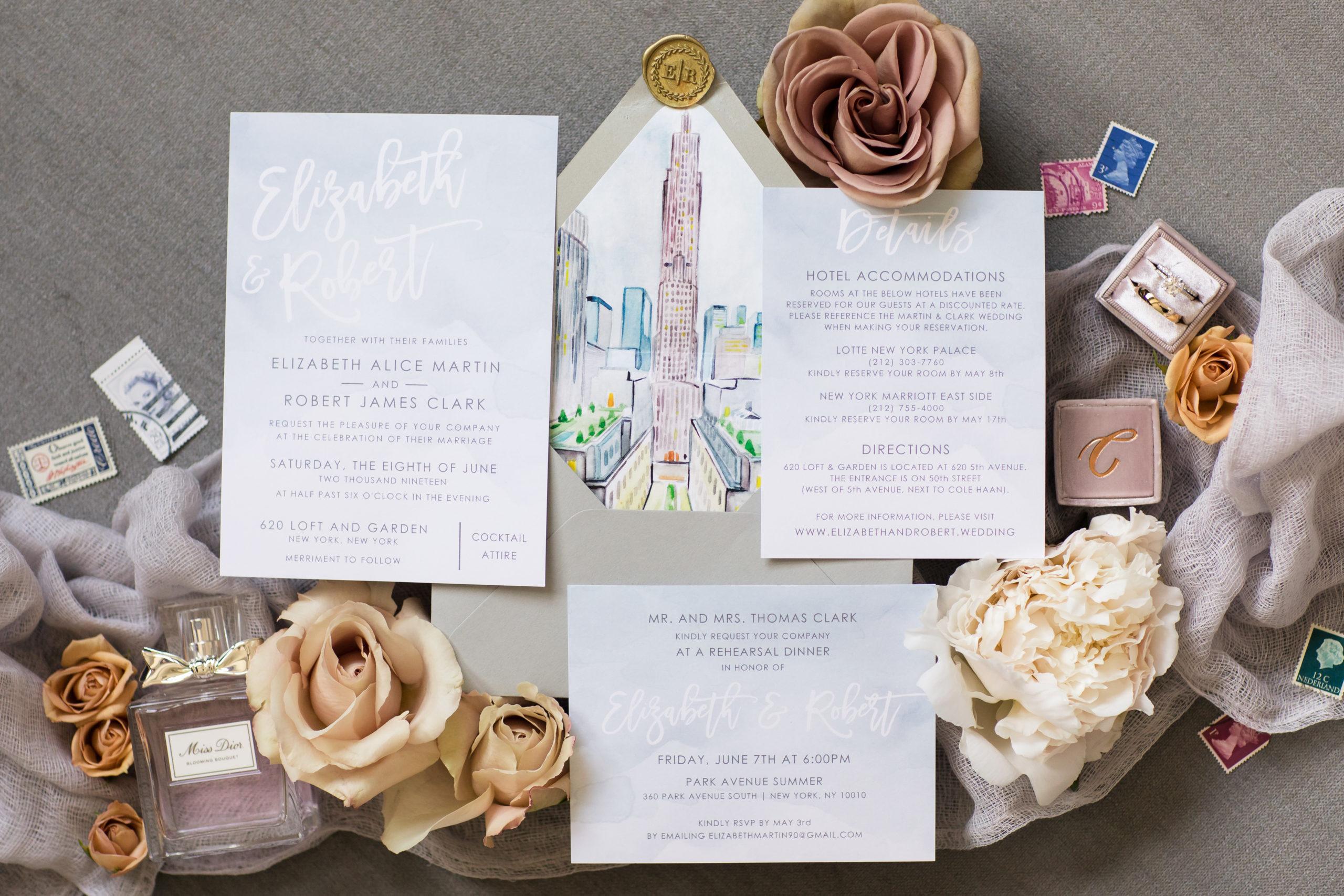 Manhattan Watercolor Wedding Invitations