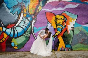 Brooklyn New York Elephant Mural Wedding Portrait