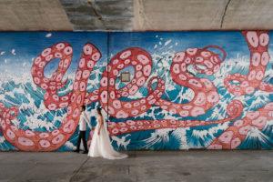 Brooklyn New York Yes Mural Wedding Photo